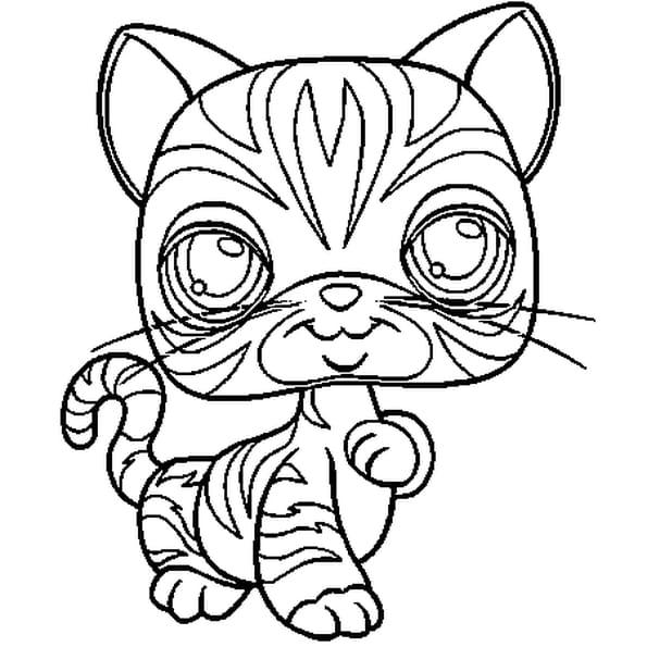 Coloriage Pet Shop chat 2 en Ligne Gratuit à imprimer