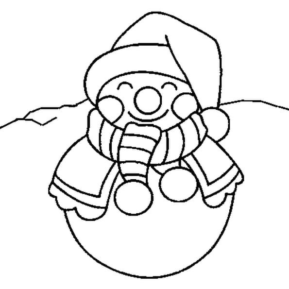 Dessin Bonhomme de neige de Noël a colorier