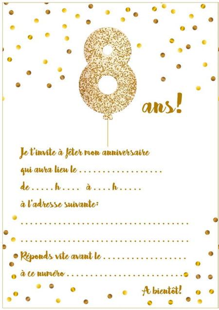 carte anniversaire fille 8 ans Carte d'invitation d'anniversaire 8 ans