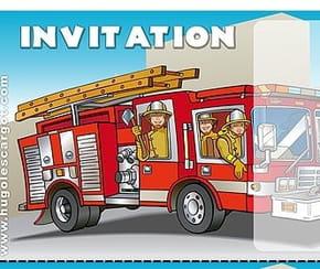 Carte invitation anniversaire camion de pompiers