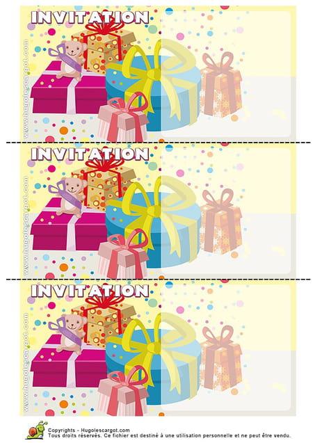 Carte invitation anniversaire paquets cadeaux