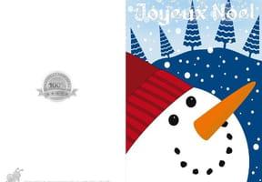 Carte de Noël tête de bonhomme de neige
