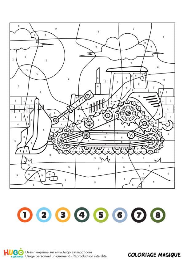 Coloriage magique ce1 un bulldozer - Un coloriage magique ...
