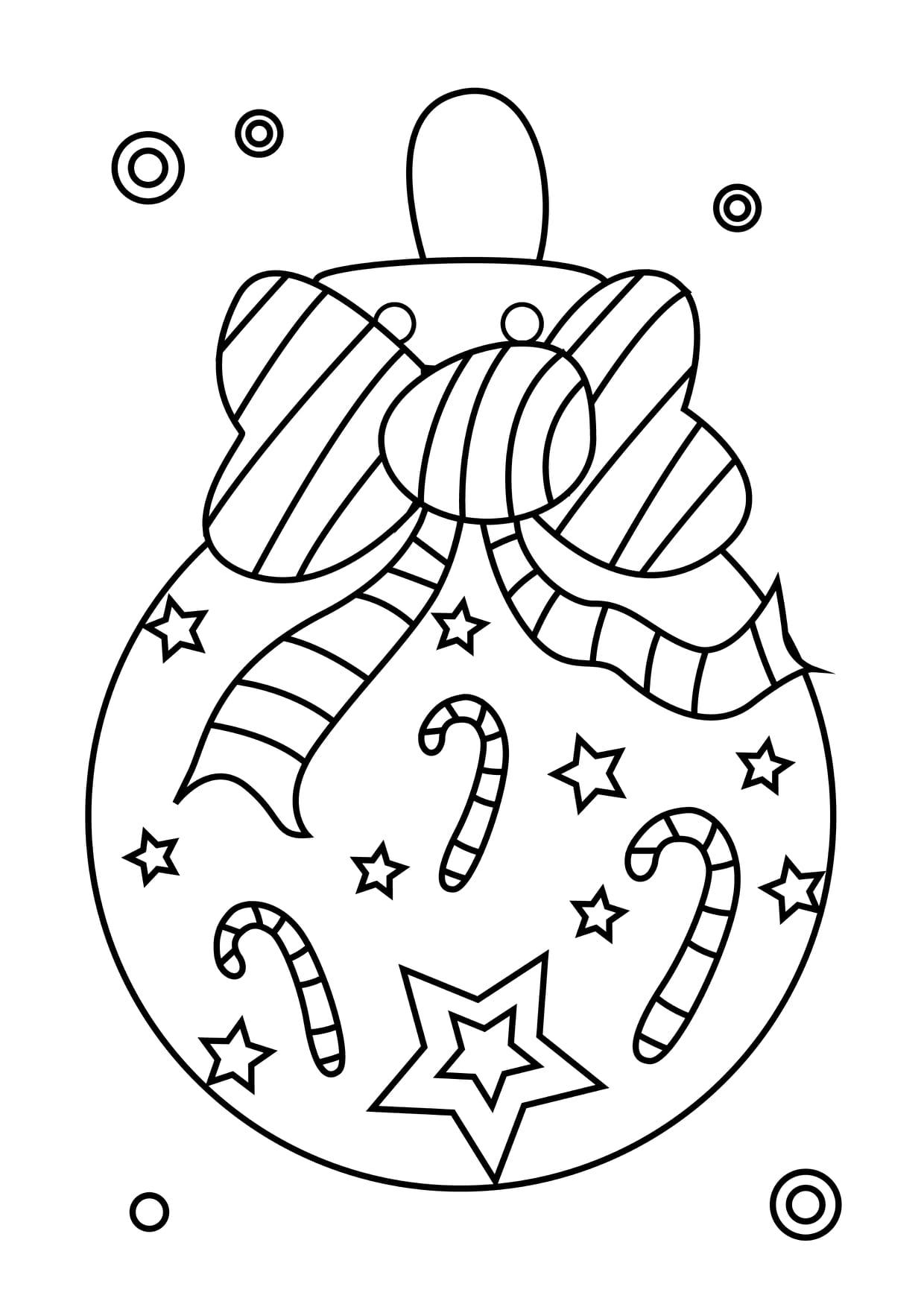 Dessin Sur Boule De Noel Coloriage boule de Noël nœud papillon