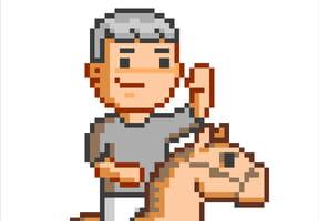 Cavalier et son cheval en pixel art