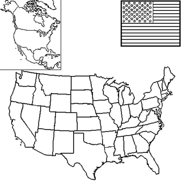 Coloriage carte Etats Unis en Ligne Gratuit à imprimer