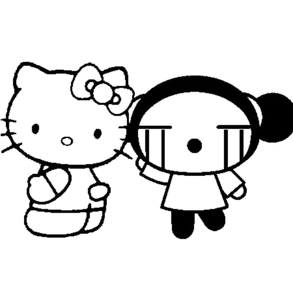 Dessin Hello Kitty et Pucca. a colorier