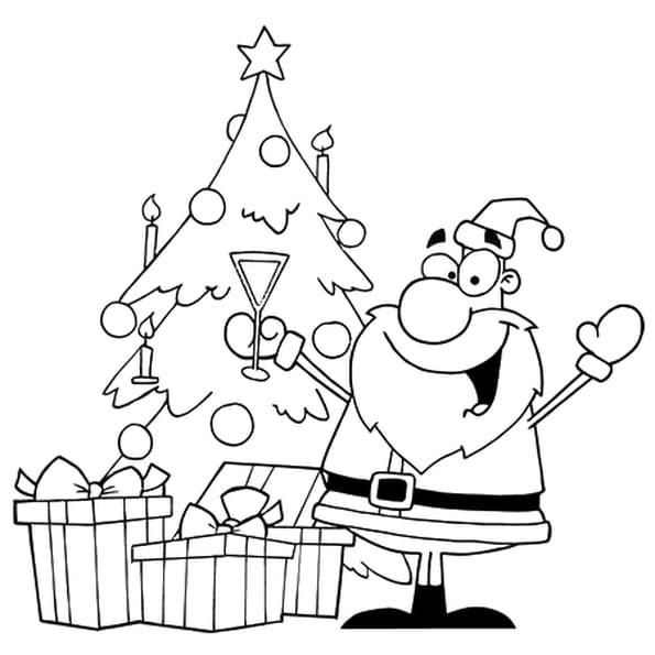Dessin Père Noël au pied du sapin a colorier