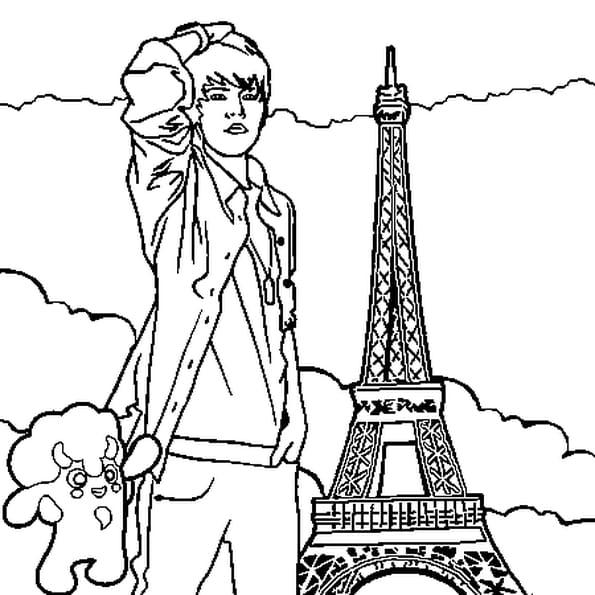 Dessin Justin Bieber Paris a colorier