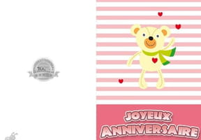 Carte joyeux anniversaire ours et cœurs