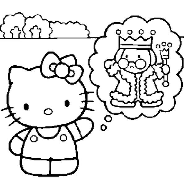 Dessin hello kitty en princesse a colorier