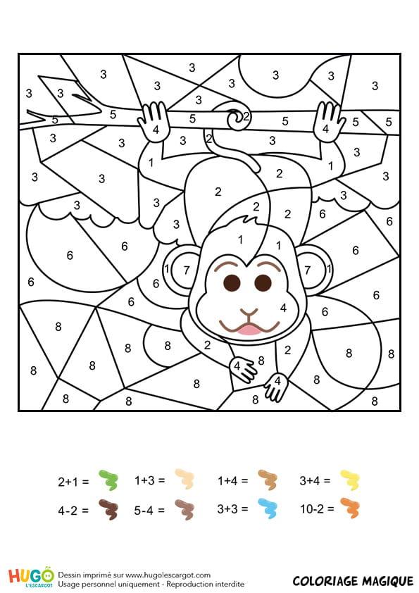 Coloriage magique CP: un singe facétieux
