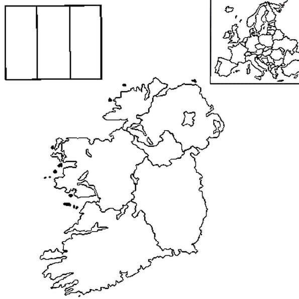Coloriage carte Irlande en Ligne Gratuit à imprimer