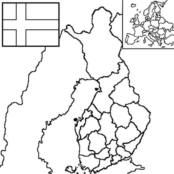 Dessin carte Finlande a colorier
