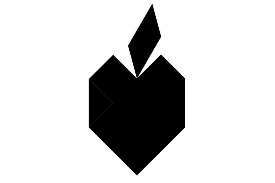 Le tangram niveau difficile, une pomme