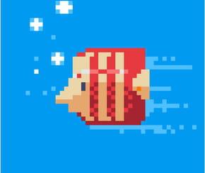 Poisson exotique en pixel art
