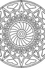 Coloriage mandala coeurs en Ligne Gratuit à imprimer