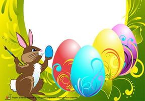 Carte peintures des œufs de Pâques
