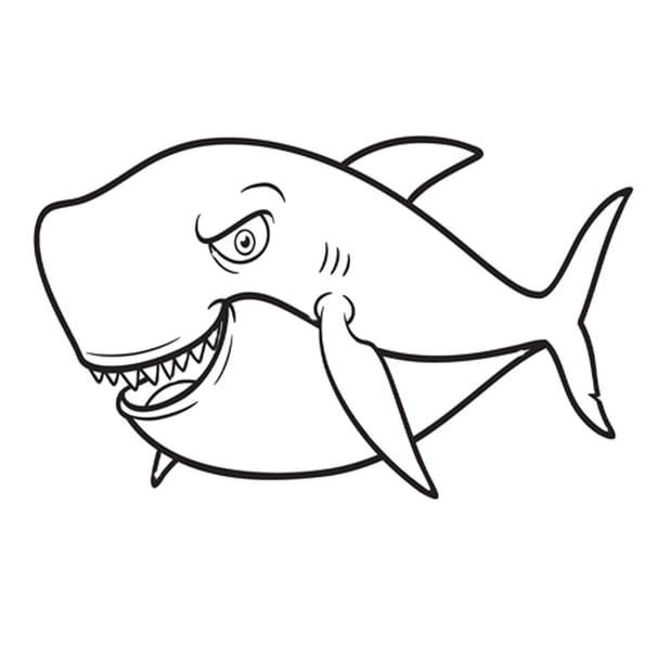 Coloriage Requin Bleu en Ligne Gratuit à imprimer