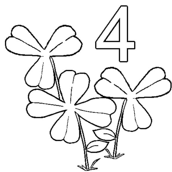 Dessin 4 feuilles a colorier