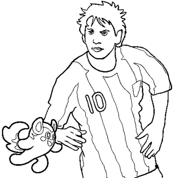 Dessin Messi a colorier