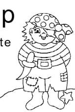 Coloriage lettre P comme pirate en Ligne Gratuit à imprimer