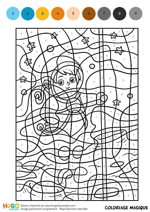 Coloriage magique cm1 le gar on astronaute - Coloriage magique grammaire cm1 ...