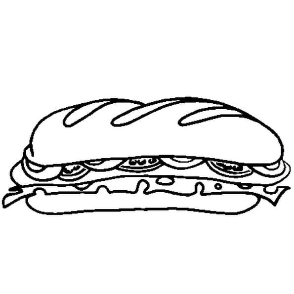 Dessin Sandwich a colorier