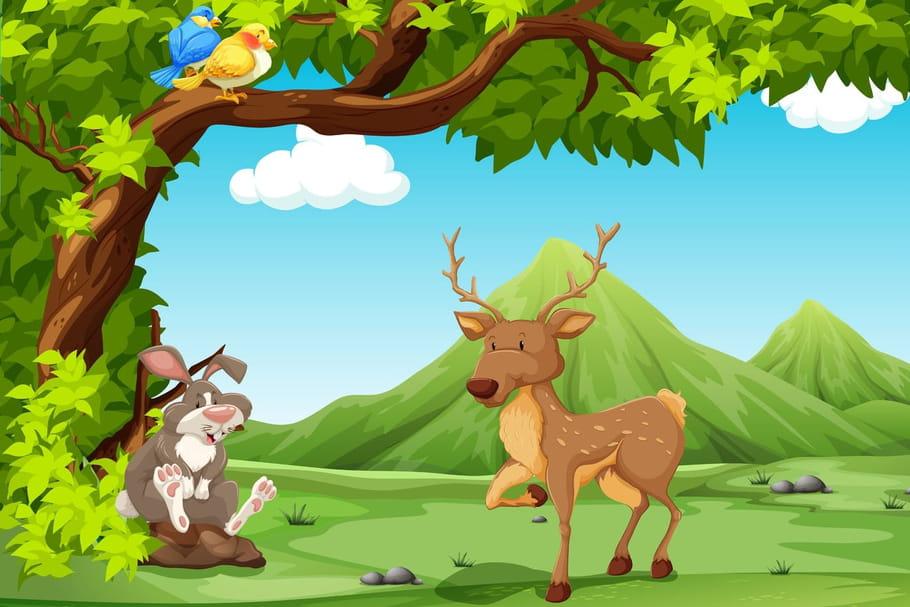 Le grand cerf et le lapin chansons pour enfants sur for Dans la foret un grand cerf regardait par la fenetre