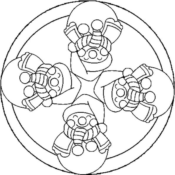 Coloriage Mandala de Noël en Ligne Gratuit à imprimer