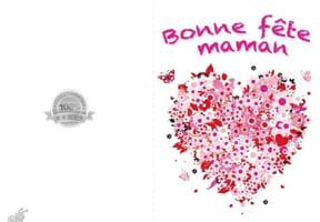 Carte fête des mères cœur en fleurs