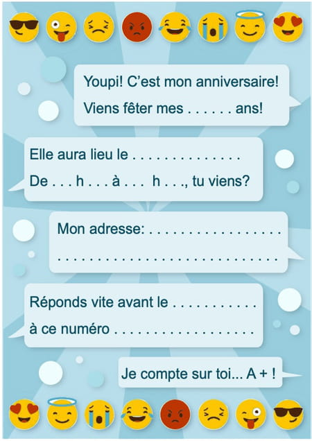 Carte D Invitation D Anniversaire Theme Smiley Et Emoticones