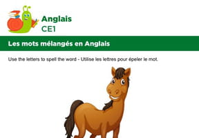 Les mots mélangés en Anglais, exercice 7