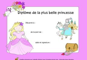 Diplôme de la plus belle princesse