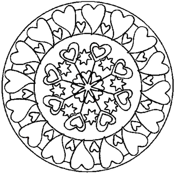 Dessin Mandala coeur a colorier