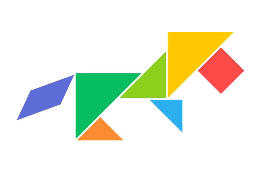 Le tangram niveau facile, un lion