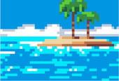 Ile et palmiers en pixel art