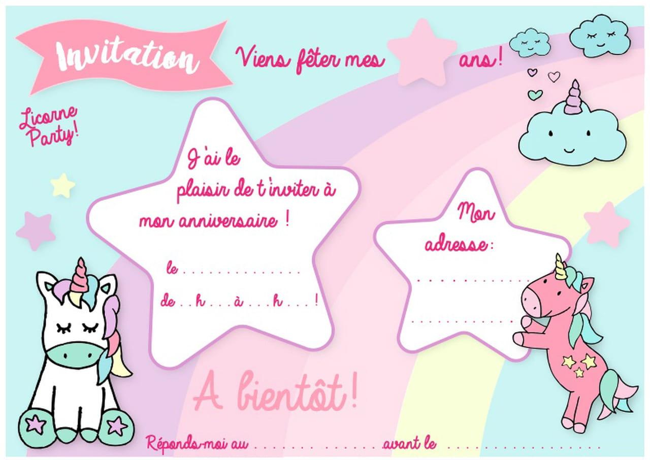 Carte D Invitation D Anniversaire Thème Des Licornes