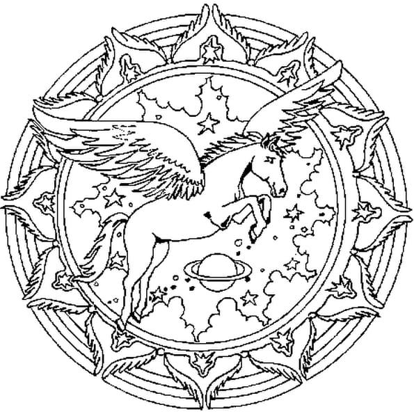 Coloriage mandala p gase en ligne gratuit imprimer - Mandala de chevaux ...