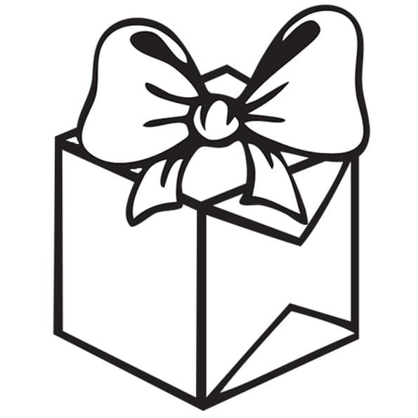 Coloriage Cadeau rose avec un gros nœud en Ligne Gratuit à imprimer