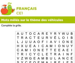 Vocabulaire, mots mêlés sur le thème des véhicules