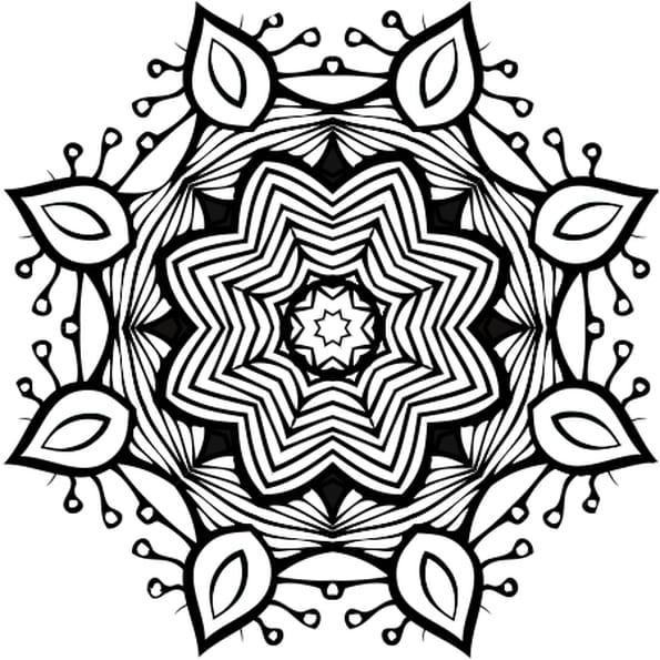 Dessin mandala complexe a colorier