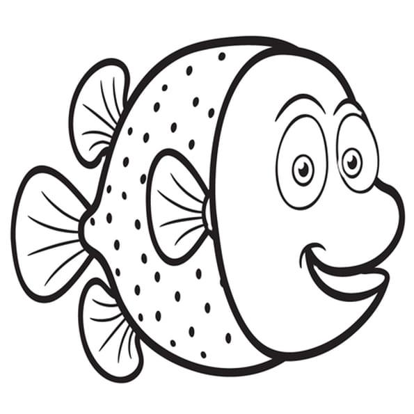 Dessin Happy Fish a colorier