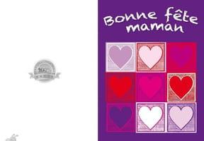 Carte fête des mères carré cœurs
