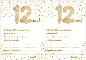 Carte d'invitation d'anniversaire 12ans