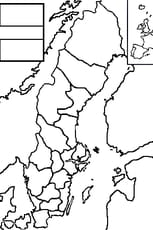 Coloriage carte Suède en Ligne Gratuit à imprimer