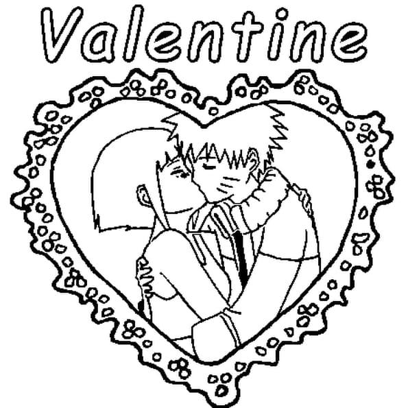 Dessin Valentine a colorier