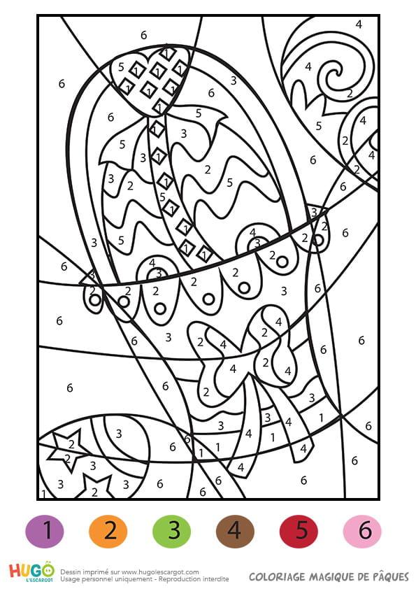 Coloriage magique décoration de Pâques