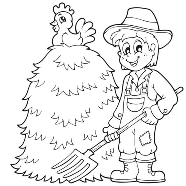 Dessin Meule de foin et fermier a colorier