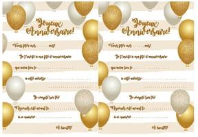 Carte d'invitation d'anniversaire thème des ballons